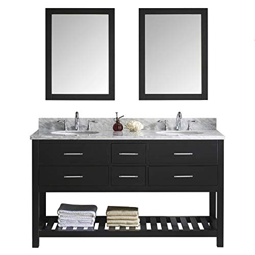 Virtu USA Caroline Estate 60 inch Double Sink Bathroom Vanity Set in Espresso w/Round Undermount Sink, Italian Carrara White Marble Countertop, No Faucet, 2 Mirrors - MD-2260-WMRO-ES