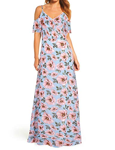 (FASHIONMIA Women's Floral Cold Shoulder Maxi Dress Summer Spaghetti StrapV Neck Chiffon Dresses)