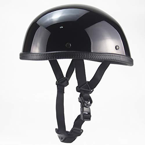 Harley Motorcycle Helmet, Open Face Retro Beanie Half Helmet Youth Men and Women DOT Certified Cruiser Pilot Bicycle Harley Half Helmet Black,M