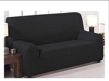 Funda de sofá elástica ajustable modelo mónaco de 4 plazas (240x270 cm) disponible en 6 colores lisos (Negro, 240_x_270): Amazon.es: Hogar