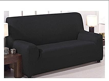 Funda de sofá elástica ajustable modelo mónaco de 3 plazas (180x240cm) disponible en 6 colores lisos (Negro, 180x240)