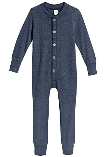 City Threads Little Boys and Girls' Union Suit Thermal Underwear Set Long John Onesie Footie Perfect for Sensitive Skin and Sensory Friendly SPD, Midnight, 3T