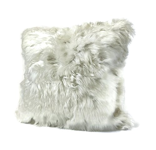 1 WHITE, Fur on ONE side, Luxury Handmade Baby Alpaca Fur, 20''x20'' Decorative pillow. to USA! by Peruvian Accent