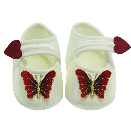 Nihao Baby Newborn Girl Princess Dress Shoes Infant Cute Crib Shoes for Wedding (0-3 Months, Burgundy)