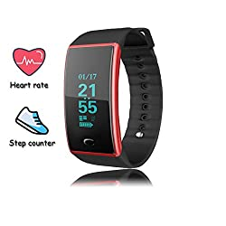 Sogo Smart Fitness Tracker Watch,activity Tracker With Heart Rate Monitor,multiple Sports Mode,calorie Counter Wristband,smart Watch For Kids Women & Men,android & Ios(red)
