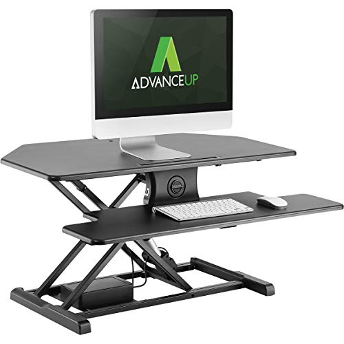 AdvanceUp 37.4 2-Tier Electric Ergonomic Corner Standing Desk Converter Riser, Motorized Height Adjustable Stand Up Workstation, 44lbs Capacity Great for Offices Cubicles with Dual Monitors