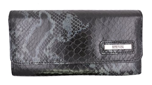 Kenneth Cole Reaction Women's Snake Print Tri-fold Snap Clutch Wallet (Black and Grey) - Snake Long Wallet