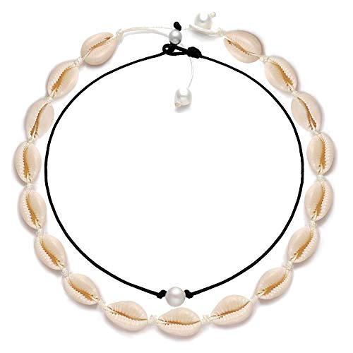 (XOCARTIGE Puka Shell Necklace for Women Boho Cowrie Shell Choker Necklace Anklets Set Hawaiian Chips Shell Collar Surfer Choker Pearl Cord Necklace Set (Shell Choker+Pearl Choker))