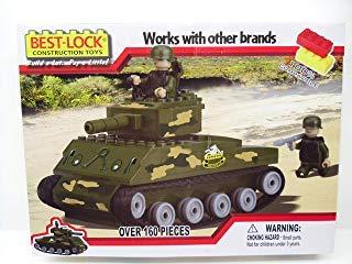 Best-Lock Sherman Tank with 2 Figures (160 Piece Set)