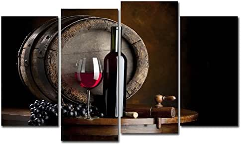 Horgan Art 4 Panels Canvas Paintings Wall Art Fruit Grape Red Wine Glass Prints Modern Artwork Figurative Painting for Home Decor Indoor Ornament (No Frame)