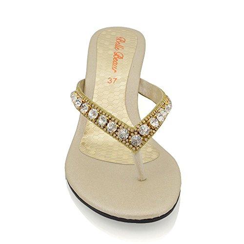 Oro Finto Diamante Bassa Zeppa Donna Sandalo con Scintillante Essex Glam Effetto CwPqvTP