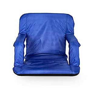 Camco Portable Reclining Stadium Seat for Bleachers with Carry Straps-Water Resistant, Comfortable Cushioned Design with Arm Rests, and Zippered Storage-Blue (53095)