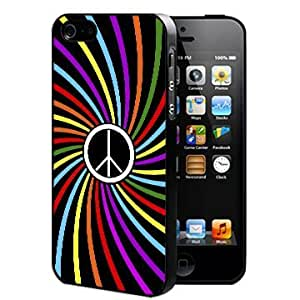 Black Colorful Swirl Peace Design Hard Snap On cell Phone Case Cover iPhone 5 5s
