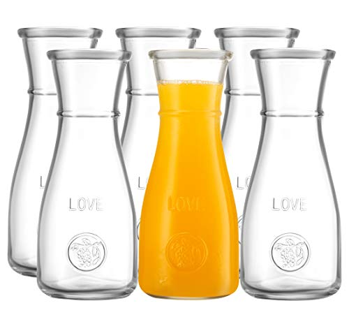 (500 ml Glass Carafe - 6 Pack - The LOVE Drink Pitcher and Elegant Wine Decanter, Narrow Neck For Easy Grip, Wide Mouth for Classic Pouring - Great for Parties and Events - by Kitchen Lux)