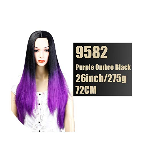 - Synthetic Wigs Black Red Long Straight Hair for Black Women High Temperature Fiber Cosplay Wig,Purple,26inches