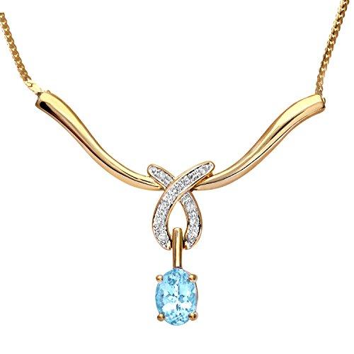 Revoni-Bracelet Or Jaune 9ct Topaze bleue Diamant, longueur 44cm
