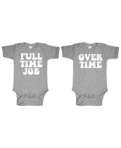 Full TIME Job - Overtime - Twins Funny - Two Infant Bodysuit Combo, NB, ()