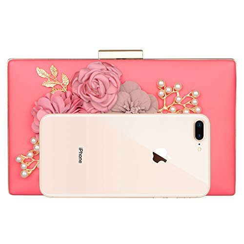 Wedding Clutch Clutch Pearl New Flower for Women's Pink fit Purse Cocktail Evening Handbags Bags Wedding TIC0qn8wa