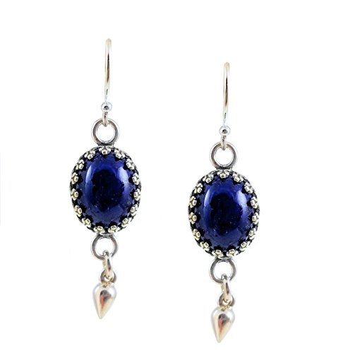 - Sterling Silver 10x8mm Czech Blue Glass Oval Earrings with Dangle, Vintage Glass