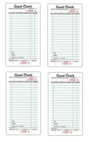 Adams Guest Check Pads, Single Part, Perforated Guest Receipt, 3-2/5