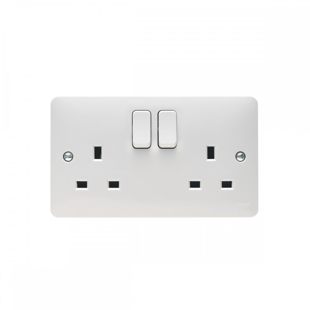Hager 13a 2 Gang Double Pole Dual Earth Switched Socket Sollysta Way Switch Twin And Range Electronics