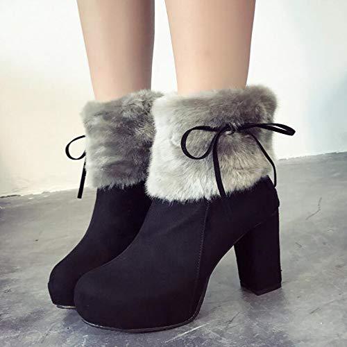 Es Herbst Women Lederstiefel Reißverschluss Baumwolle High Winter Boots Stiefel Wildleder Heel Mit Black Plattform Dick KUKI Stiefel Seite Wasserdichte Winter Damenstiefel Fashion Und ZTw5qxA6