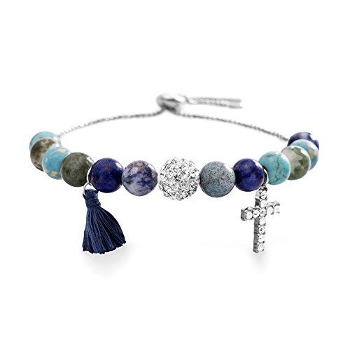 Charm Stone Multi (Willowbird Genuine Multi Stone Bead and Charm Adjustable Bolo Style Bracelet for Women (Multi))