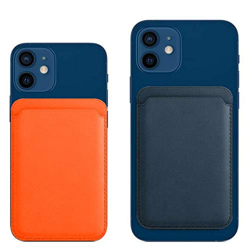 Compatible with Leather Wallet iPhone 12/Pro/Max/Mini, with MagSafe Magnetic RFID Card Holder, Card Holder with Magnet for Phone (Blue)