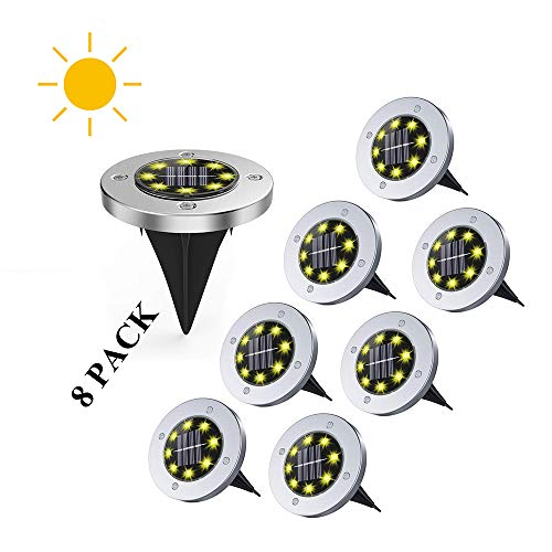 Solar Ground Lights, Disk Lights Solar Powered In-Ground with 8 LED Waterproof Outdoor Light Sensor for Lawn, Garden, Yard, Driveway, Pathway, Walkway, Patio (Warm White) (Solar Led Garden Lights 8 Pack)