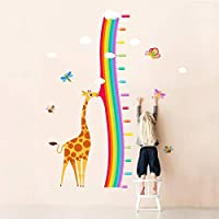 decalmile Giraffe and Rainbow Height Chart Wall Stickers Kids Measure Growth Wall Decals Baby Nursery Childrens Bedroom Living Room Wall Decor