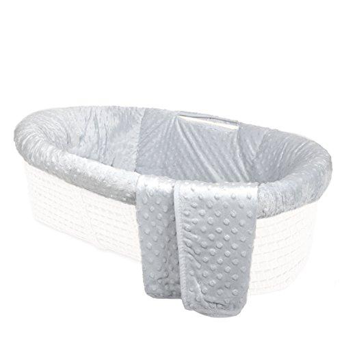 Tadpoles Minky Dot Moses Basket Bedding Only Set, Grey