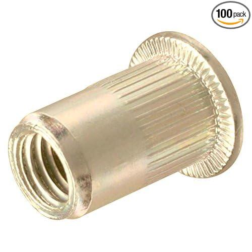 SNG196 Zinc Plated Carbon Steel Flat Head Threaded Metric Inserts Snug Fastener 100 Qty M5 Rivet Nuts