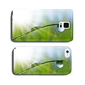 Fresh green grass with dew drops closeup. Natural background. cell phone cover case Samsung S6