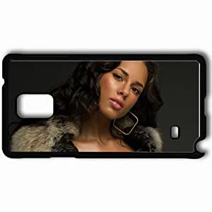 Personalized Samsung Note 4 Cell phone Case/Cover Skin Alicia Keys Girl Look Hair Earring Black
