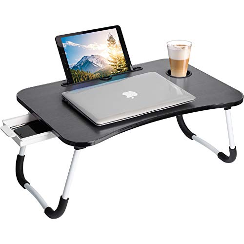 Lap Desk : Laptop Bed Tray Table, Portable Foldable Laptop Stand Desk with Storage Drawer Cup Holder for Working, Writing, Gaming & Eating