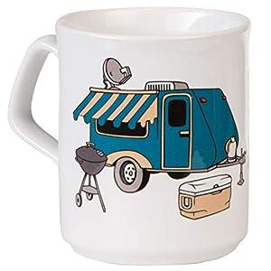 Hochwertige Kaffeetasse HOME IS WHERE YOU PARK IT mit Wohnwagen-Design für Camping und Büro - spülmaschinenfest aus…