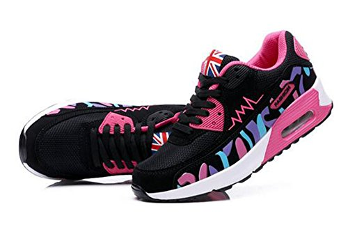 rose Baskets Multicolore et Femme Respirante Jogging noir Fitness Running Chaussures Lacet Sneakers Course Gym Sport wealsex Style mesh pdRBxaB
