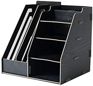 Qukick 木製デスクトップの破片収納ラックオフィスファイル収納ボックス多層ファイル棚 (色 : 黒)