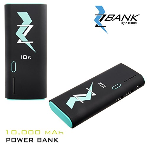 ZBANK By ZUNAMMY Ultra-Compact High Speed Portable Charger with Dual Output, LED indicator and Soft Touch Rubber Finish for Easy Grip, Black/Turquoise, 10000mAh by ZBANK By ZUNAMMY
