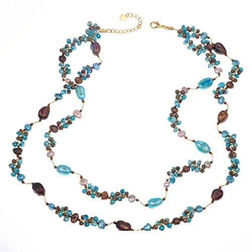 Genuine Multi-Colored Cultured Freshwater Pearl Blue Peach Bronze Beaded Necklace, 23-25 inches