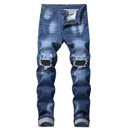 NUWFOR Men's Fashion Slim Fit Personality Stretchy Casual Ripped Jeans Denim Pants(Dark Blue,US:31 Waist:31.89