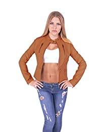 Hollywood Star Fashion Women's Zip Front and Pockets Leather Biker Jacket