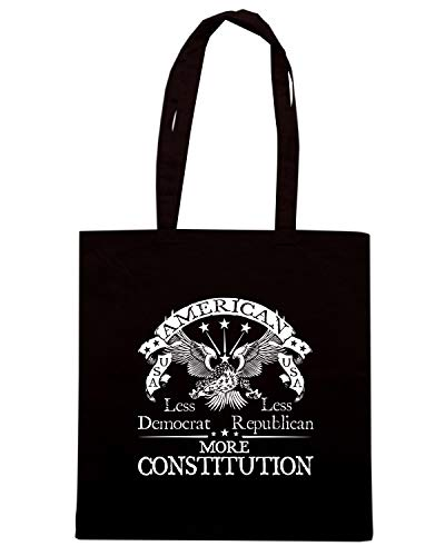 Borsa Shopper Nera TM0671 AMERICA LESS DEMOCRAT LESS REPUBLICAN MORE CONSTITUTION