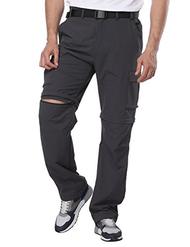 MIER Men's Convertible Pants Quick Dry Cargo Pants Lightweight Comfort Stretch Hiking Travel, 7 Pockets, Graphite Grey, (1 Travel Pants)