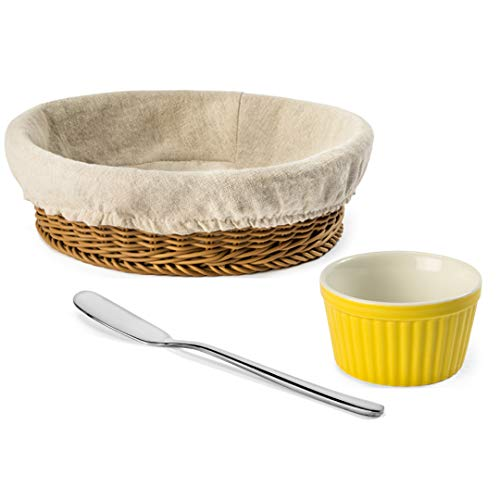 NATIONAL CONCEPTS Bagel and Butter Serving Set; (1) Bagel Basket with Liner, (1) 304 Stainless Steel Butter Spreader, (1) Yellow Ramekin 6 0z.