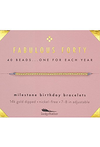 "Lucky Feather 40th Birthday Gifts for Women, 14K Gold Dipped Beads Bracelet on Adjustable 7""- 8"" Cord - Perfect 40th Birthday Gift Ideas for Her"