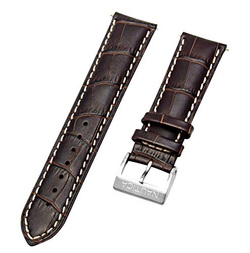 Nautica Men's N13605G | A13605G NCT 401 Brown 22mm Croco Leather Original Replacement Watch Band | Strap