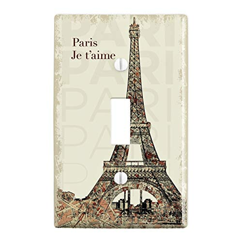 GRAPHICS & MORE Paris, Je T'Aime I Love You Eiffel Tower City Map Plastic Wall Decor Toggle Light Switch Plate Cover