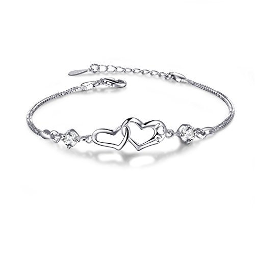 EVERU Heart Love Bracelet for Women, Symbol Never Separated, 925 Sterling Silver Adjustable Charm Forever Bracelet ()