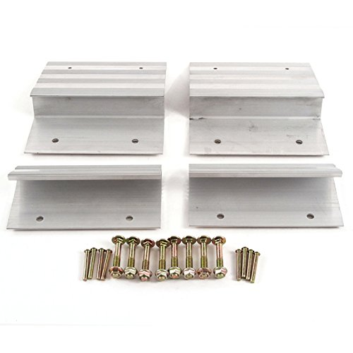 (Red Hound Auto Ramp Aluminum Truck Top and Bottom End Kit with Hardware Heavy Duty Loading ATV Mower Motorcycle 8 Inches Wide 4 Pieces - Compatible with 2x8 Boards)